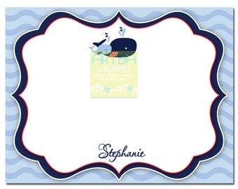 Whale Thank You Card - Blue, Navy and red whales Thank You Card - Mom and Baby whales thank you card