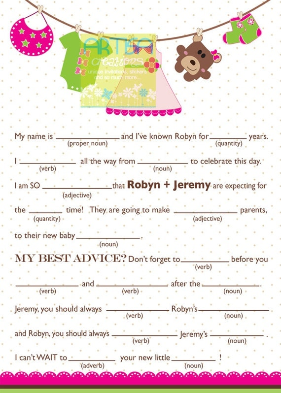 Girl baby shower mad lib personalized mad lib baby girl like this item pronofoot35fo Image collections