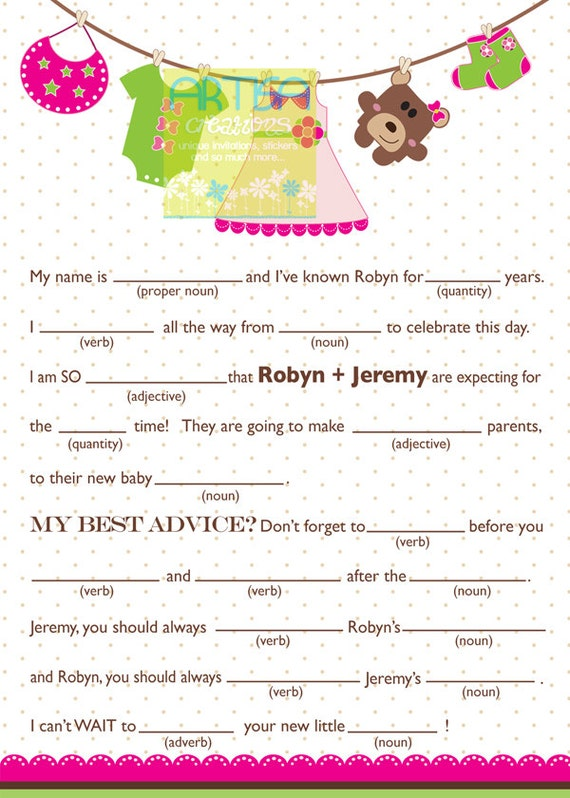 baby shower mad lib personalized mad lib baby girl shower mad lib