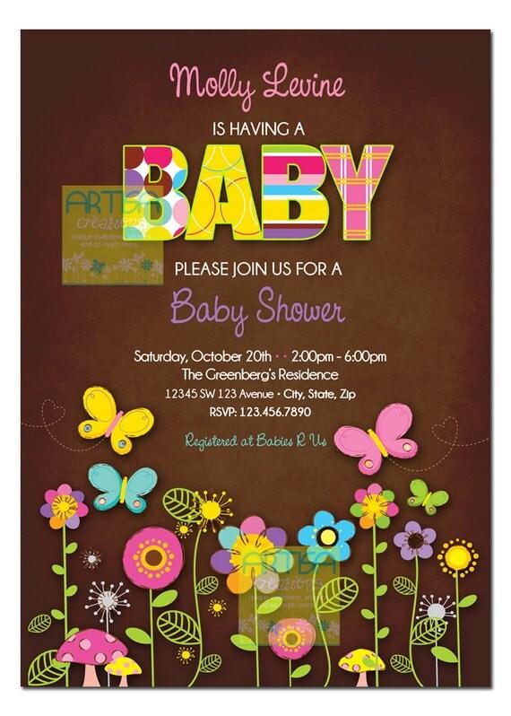 butterfly baby shower invitation butterflies and flowers, Baby shower invitations