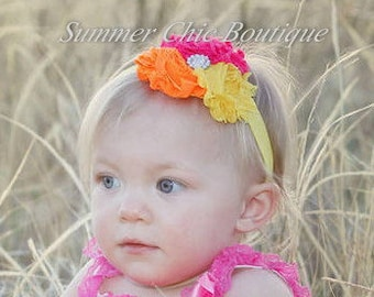 Baby Headband, Infant Headband, Newborn Headband, Pink, Orange, and Yellow Baby Headband, Baby Headbands, Infant Headbands, Summer Headband