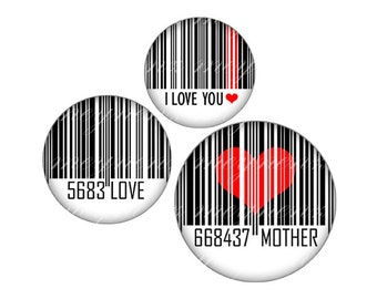 INSTANT DOWNLOAD-Barcode - Printable 1 inch round for jewelry, magnet, bottle cap, keychain, pendant, ring, brooch - Jpg File no. A286