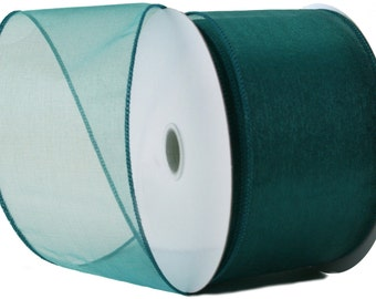 Wired Edge Organza Ribbon - Teal Roll of Ribbon - 25 yards