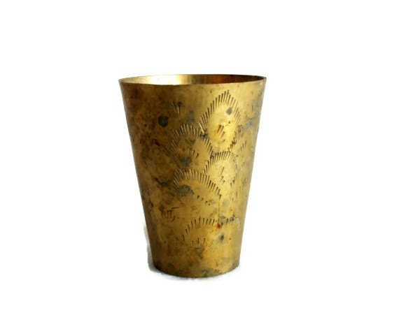 Metal Tumbler Vintage Brass Carved Indian Cup Hand Etched