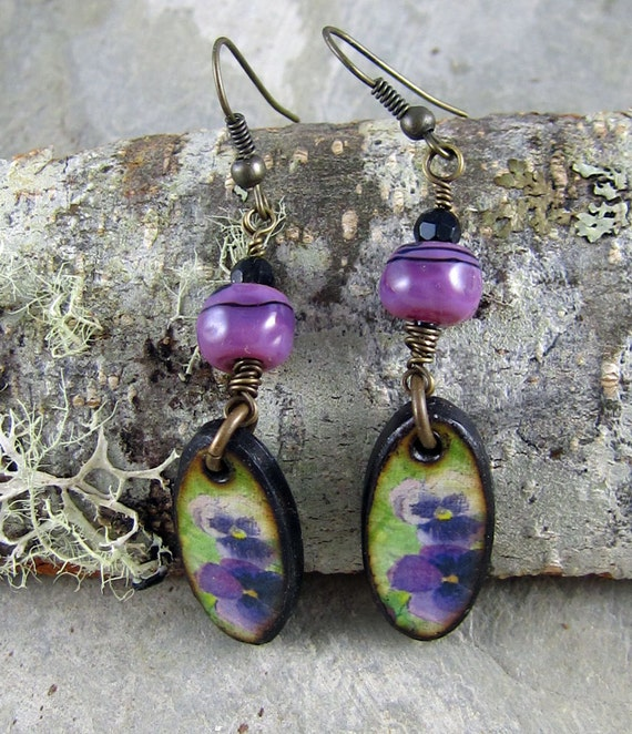 Handmade purple flower earrings
