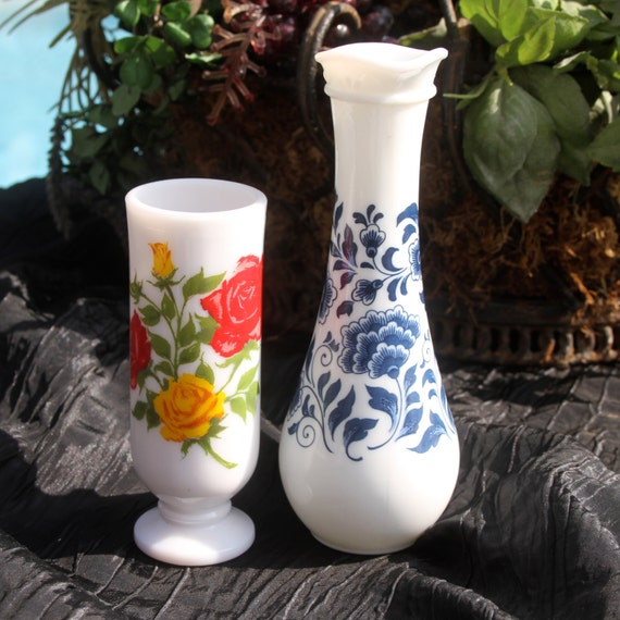 Milk Glass Deft Blue Decanter and Red Rose Bud Vase COMBO
