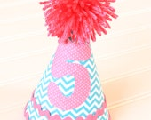 Blue Chevron and Bright Pink Baby Girl Birthday Hat-Personalization Included
