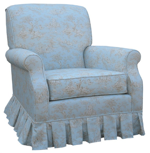 Items similar to shabby chic blue toile upholstered adult rocker glider chair nursing chair new