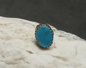 Vintage Sterling Turquoise Tie Tack H441