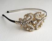Gold headband, 1920s headband, bridal headband, Flapper, Black bridal headband, hair accessories, bridal head piece, headpiece GOLD