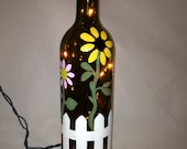 Hand Painted Recycled Wine Bottle with Flowers and a Picket Fence
