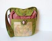 "Gorgeous French Tapestry Brocade  Bag Purse ""Creidne"" Boho Marie Antoinette Bag Baroque Velvet Medieval Bag Victorian Green Pink Camée"