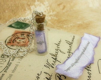 Mary Poppins - Supercalifragilisticexpialidocious vial necklace - silver plated, glass vial, scroll with quote.