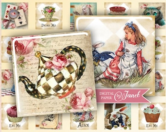 Alice - squares image - digital collage sheet - 1 x 1 inch - Printable Download