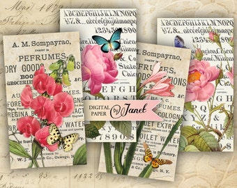 Bouquet Extract  - digital collage sheet - set of 10 - Printable Download