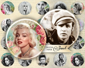 Stars - circles image - digital collage sheet - 1 x 1 inch - Printable Download