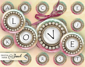 Pink Button Alphabet - circles image - digital collage sheet - 1 x 1 inch - Printable Download