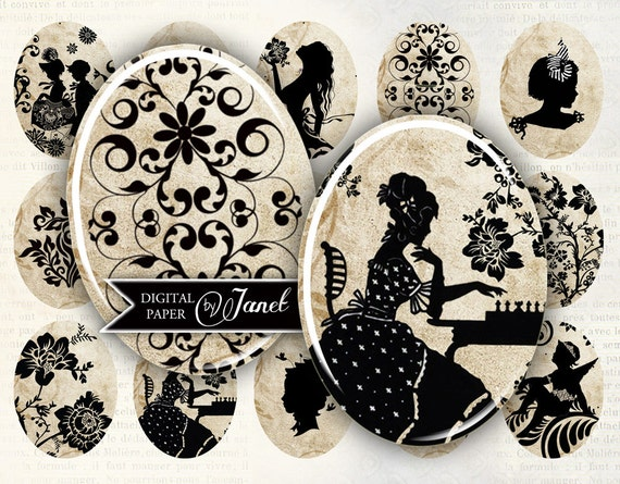 Antique Cabochons - oval image - 30 x 40 mm or 18 x 25 mm - digital collage sheet  - Printable Download