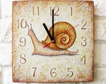 Made to Order The Brown Snail Wall Clock, OOAK Home Decor for Children Baby Kid Boy Girl Nursery Playroom