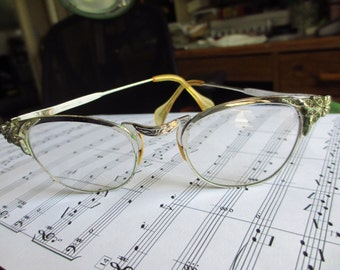 1950s Women's Vintage Browline Eyeglasses White Gold Filled and Rhinestones