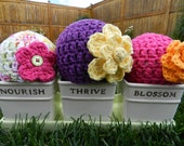 Chunky Baby Beanie with Flower (NEWBORN) - MADE to ORDER