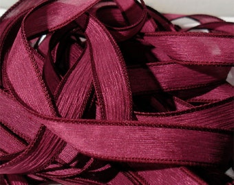 "Cranberry  42"" hand dyed silk wrist wrap bracelet ribbon// Silk Wrist Wrap Yoga Bracelet Ribbons//Silk Ribbon// By Color Kissed Silk LLC"