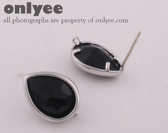 1pair/2pcs-11mmX14mmSilver plated, Glass Tear drop, PGO, earrings, 92.5 sterling silver post-Black(M313S-A)