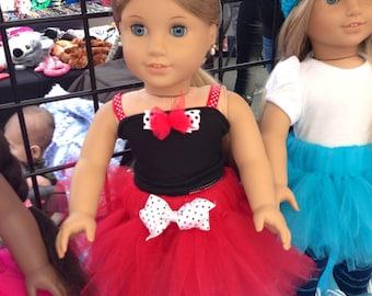 American Girl Doll Tutu Red and White Tutu