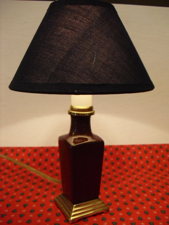 lamp night light with navy blue shade and brass base portable lamp. Black Bedroom Furniture Sets. Home Design Ideas