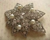 Jumbo sparkle wedding bridal Swarovski rhinestone crystals and pearls brooch pin