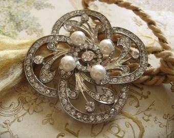 Cross pearls and rhinestone crystals wedding bridal brooch, bridesmaids brooch pin, bridal brooch, crystals brooch, pearls brooch, prom