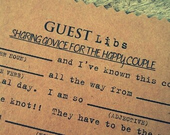 50 Wedding Guest Advice & Mad Libs-Guest Book Alternative