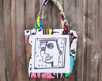 Pablo Picasso Abstract Machine Embroidered Portrait Handbag Tote Home Dec Fabric