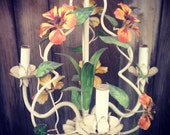 Tropical Italian Tole Chandelier, enamel flowers and leaves, orange, green. Is it Gatsby or Shabby Chic