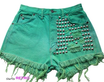 SALE Vintage Aqua Green Studded High Waisted Shorts