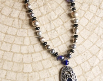 Silver Black And Clear Beaded Necklace Hand Made From Vintage Pieces Signed HS