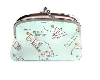 Unusual coin purse, double frame wallet pastel blue and baby pink polka dots, cute paper hat