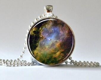 Galaxy Pendant. Hubble Telescope. Photo Pendant, Art Pendant, Glass Dome Pendant, Altered Art Pendant 005