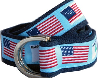 Signature Series: History of the American Flag on Navy Webbing D-Ring Belt