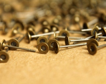 100 pc. Antique Bronze earring posts, 4mm pad | FI-054