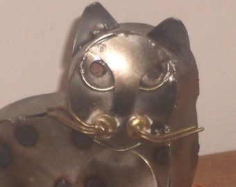 vintage Metal Cat Sculpture