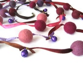 Felt wool balls garland Easter multicolor purple pink lavender satin ribbon jingle bells