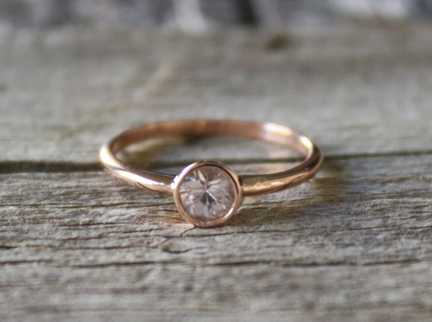 Rare Blush White Sapphire Engagement Ring in 14K by Studio1040