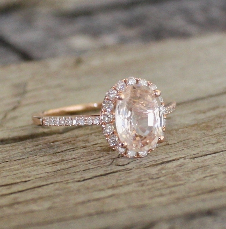 ON HOLD 1.90 Cts. Champagne Peach Sapphire In 14K Rose Gold
