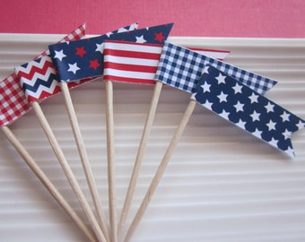 4th of July / Patriotic / red white and blue / cupcake  toppers / food picks / set of 24