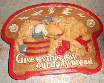 Vintage Wall Decor, Give Us This Day Our Daily Bread, Burwood, Plastic, Slice of Bread, Red, Wall Plaque