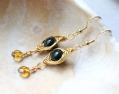 Gorgeous Deep Jade And Citrine Herring Bone Wire Wrapped Ear Dangles- Gold Tone
