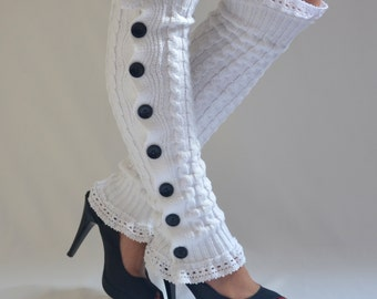 White cable knit slouchy button lace knit lace leg warmers-Boot socks-Boot cuffs-Leggings-Yoga socks-Choose your color !!!! XS-S-M-L-XL