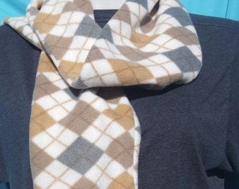 Fleece Cream Tan Grey Argyle Printed Winter Scarf Recently Reduced!