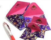 4 Silk Envelopes UNIQUE Purple Fabric Envelopes Hand Crafted Chinese Silk Fabric Floral Silk Purple Satin Fabric Envelopes Pink Paper Lining